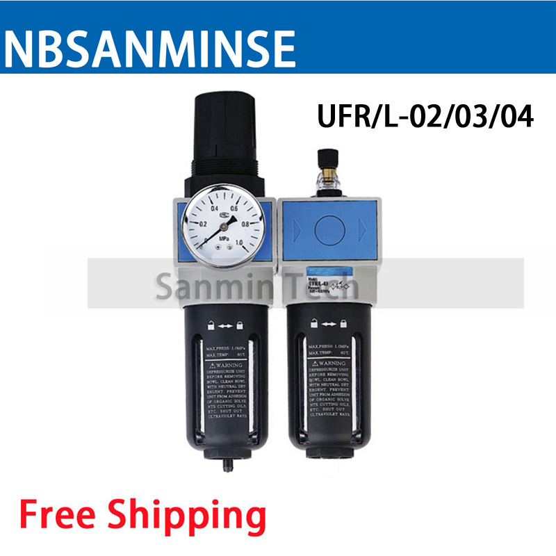 Air Preparation Units 1/4 3/8 1/2 3/4 1 UFRL Air Filter Regulator with Lubricator Air Source Treatment Two Units Valve Sanmin<br>