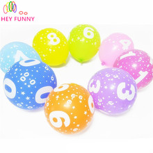 HEY FUNNY 10 pcs/set 12 inch 0-9 Birthday Number Round Print Latex Balloon Full Printed Birthday Party Balloon Baby Shower Decor(China)