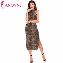 ANGVNS Sexy Halter Leopard Formal Dresses Women Sleeveless Side Split Printed Long Dress Clubwear Evening Party Dress Plus Size(China)