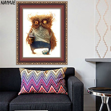 5d diamond painting partial round NAI YUE 2017 New Arrive Two size carton owl diy Diamond embroidery as Home Decoration