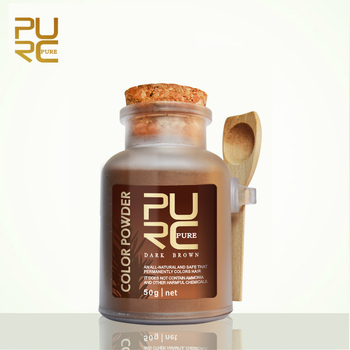PURC orgánica polvo nueva cuidado del cabello color de Pelo de color marrón oscuro polvo de tinte para teñir el cabello cabello a base de hierbas 50g color de pelo permanente