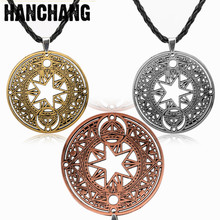 Anime Card Captor Sakura Kinomoto Sakura Magic Circle Pendant Necklace Cosplay Rope Chain Figure Metal Necklace Unisex  Jewelry