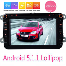 "Android 5.1.1 Lollipop Quad Core For VW 1024*600 HD Head Unit 8"" Car GPS Navigation For Volkswagen polo Seat Skoda DVD Player"