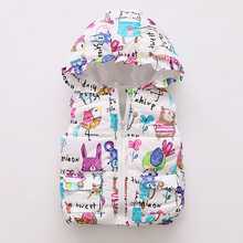 BibiCola autumn winter newborn girls coats kids cartoon cotton warm vest jacke infant girls hooded waistcoat children clothing