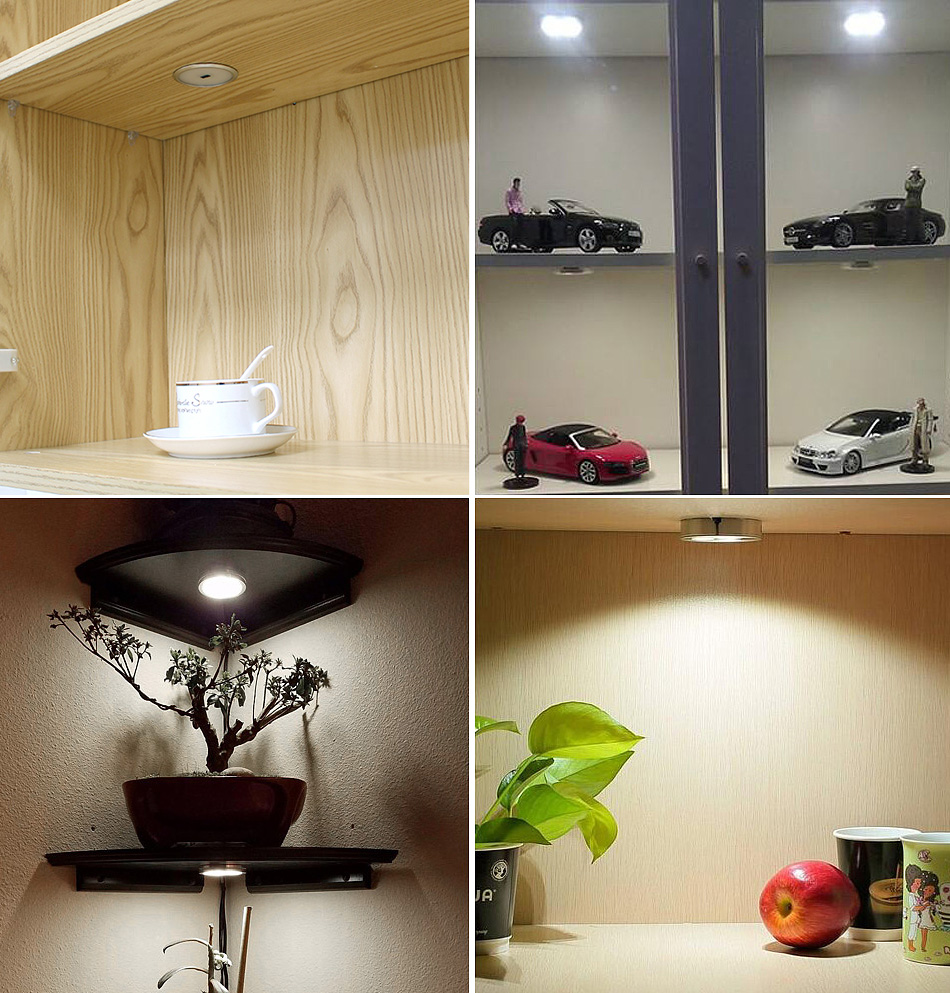 Under Cabinet Light LED 12V 3W Aluminum Cupboard Kitchen Closet Puck Wardrobe Furniture Lamp Counter Showcase Bookshelf Lighting (12)