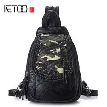 AETOO Fashion Women Backpacks Rivet Black Soft Washed Leather Bag Schoolbag For Girls Female Leisure Bag mochilas small backpack