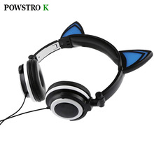Cat Ear Headphone LED Light Flashing Glowing Headset Gaming Earphone Headband For iPhone iPad Laptop MP3 MP4 PSP Tablet Computer