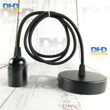 Sample order E27 DIY edison lamp fixture black bakelite socket plastic lamp holder with 1.1 meter black cable and ceiling plate