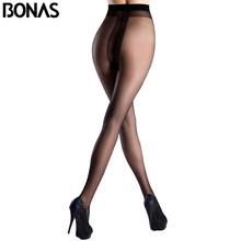 Buy BONAS T Crotch Sexy Nylon Thin Pantyhose Girl Solid Color Fashion Slim Tights Summer Style Spandex Lolita Black Stockings