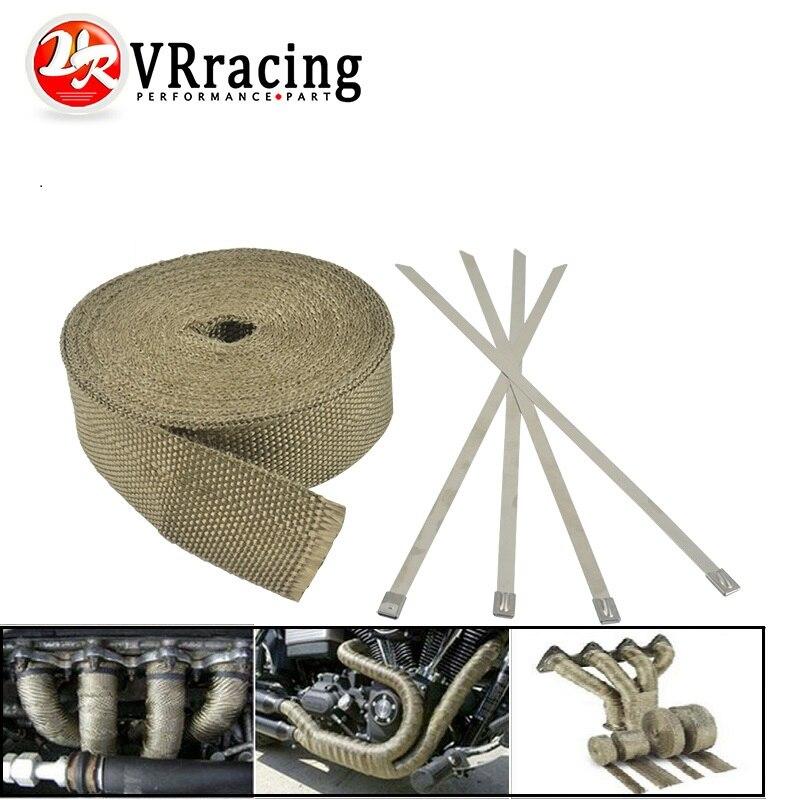 Exhaust Manifolds Titanium Heat Wrap Tape Thermal Wrap Black 2/'/' X 5M /& 6 Ties