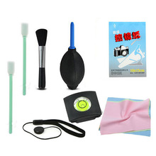 7 in1 hot shoe spirit lens keeper +cleaning pen lens paper lens cloth  lens brush cleaning kit for Canon Nikon Olympus Sony