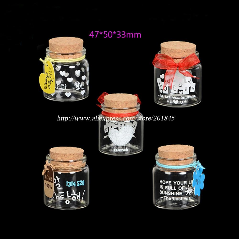 20 Pcs Cute Screen Clear Glass Bottle Cork Lovely Creative Bottle Drifting Wishing Message Vials diameter 47mm<br>