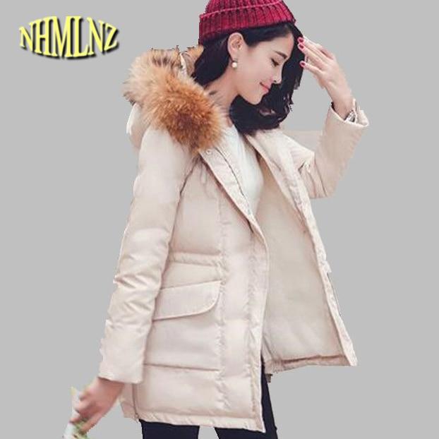 Women Winter Jacket Latest Style Large yards Slim coat Long sleeve Fur collar Hooded Jacket Thick Warm Duck Down jacket G2694Îäåæäà è àêñåññóàðû<br><br>