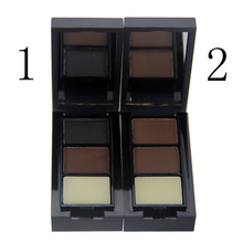 LEARNEVER Hot Sale Professional Eye Shadow Eye Brow Makeup 2 Color Eyebrow Powder Eyebrow Wax Palette Brush English Instruction