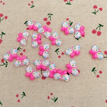 50 Pieces Resin Flat Back Flatback Cabochon Kawaii Pink Butterfly DIY Craft Decoration Scrapbooking Embellishment Charm 14*22mm(China)