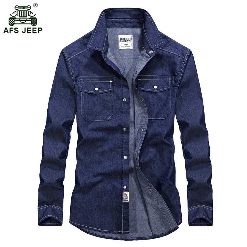 2017 New Spring Men's Denim Dress Shirts Male Full Sleeve Cotton Two Pockets Slim Jeans Shirt Classic Casual Tops 84wy