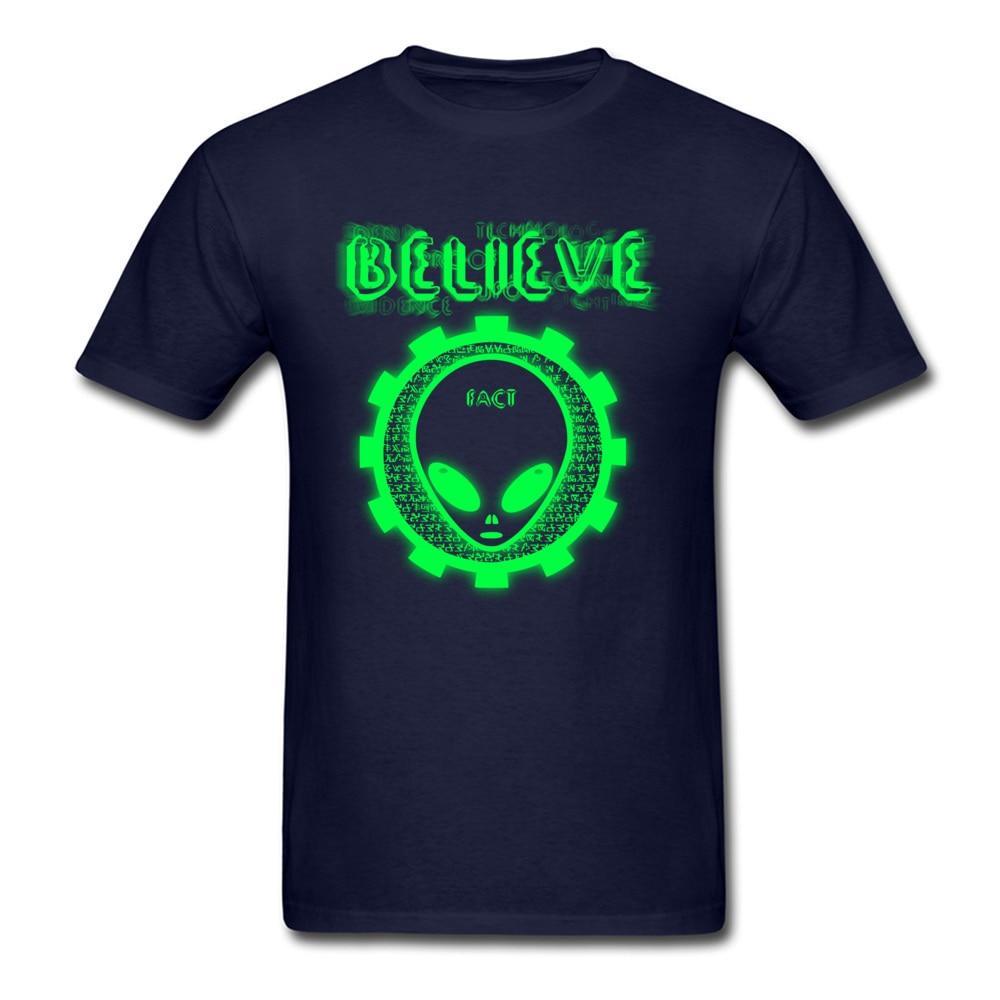 Printing Believe Alien Fact O-Neck T Shirts Thanksgiving Day Tops Shirt Short Sleeve for Men Hip Hop 100% Cotton T-Shirt Believe Alien Fact navy