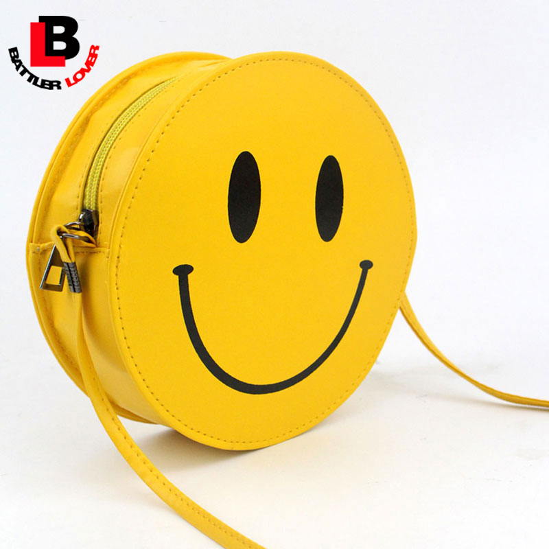 Funny Smiling Face Women PU Leather Shoulder Bag Circular Handbag Girls Kid Clutch Borse Yellow Messenger bag Small Cute Cartoon