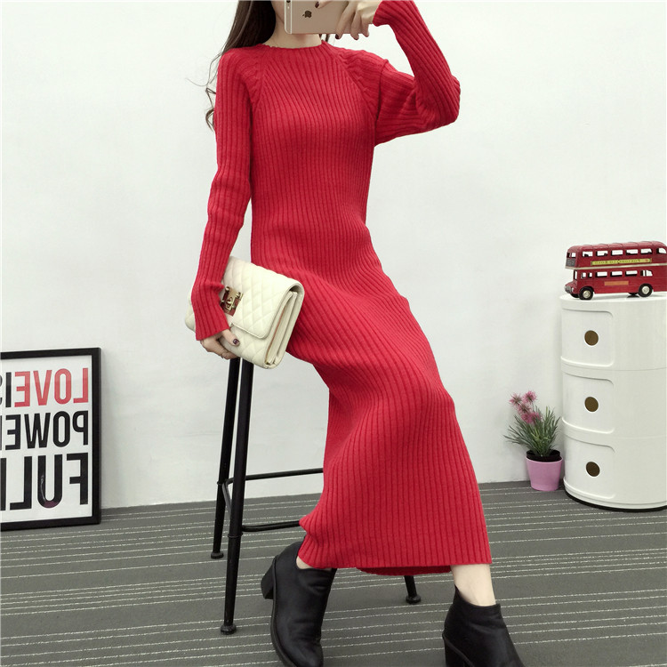 Pure color long paragraph slim sleeve head semi turtleneck sweater dress thickened knitting bag hip backing(China (Mainland))