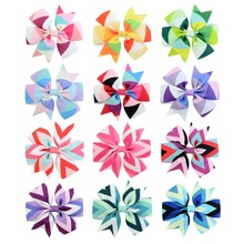 12Pcs/Lot New Fashion Handmade Boutique Multi - color geometric design Hair Bow Alligator Clip Kids Girls Hair Accessories 743