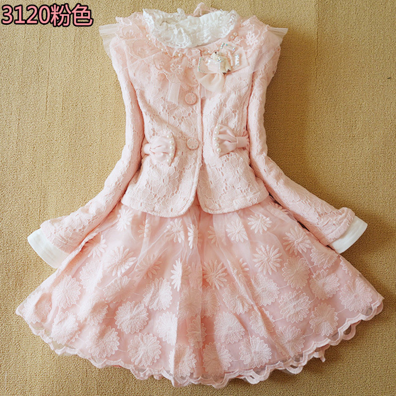 Anlencool Free shipping brand new childrens clothing Girls Korean lace skirt three-piece baby princess dress girls dress set<br>