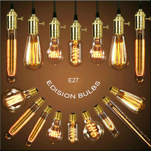 Retro st64 Edison Bulb Chandelier Pendant Lights Squirrel-cage Filament E27 40W Edison Lamp lampada Incandescent Bulb Rope Light(China)