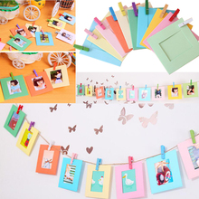 Creative Colorful Hanging Paper Photo Frame Kit Rope Clips DIY Decoration(China)
