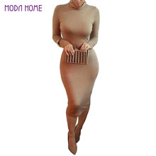 Women Sexy Club Dress 2016 Turtle Neck Long Sleeve Winter Dress Pencil Dress Slim Hip Bandage Bodycon Dress Vestidos Clubwear