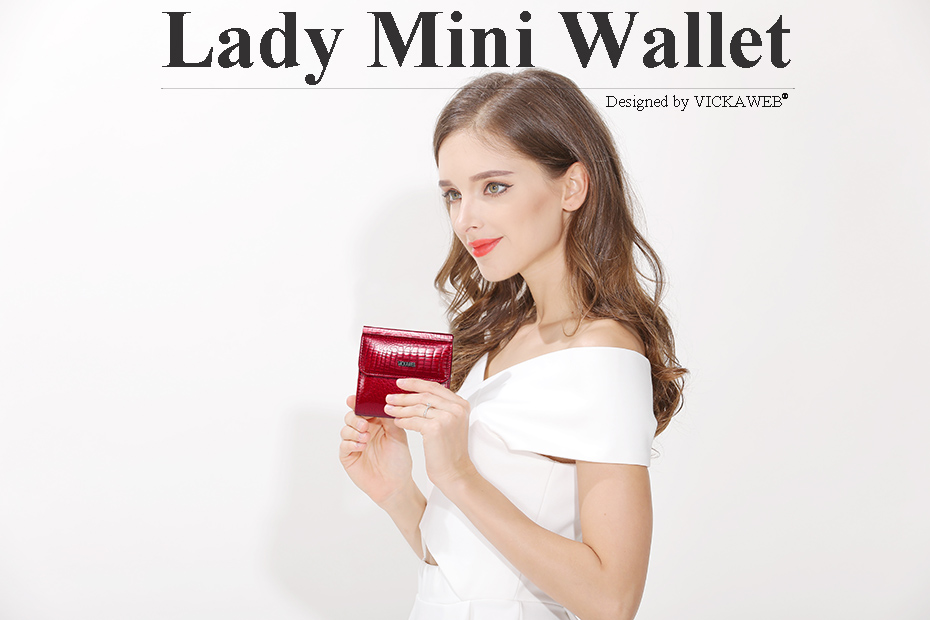 VICKAWEB Mini Wallet Women Genuine Leather Wallets Fashion Alligator Hasp Short Wallet Female Small Woman Wallets And Purses-AE209-001