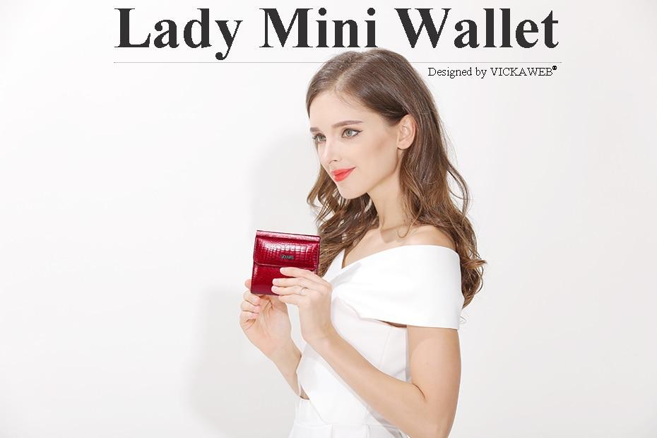 VICKAWEB Mini Wallet Women Genuine Leather Wallets Fashion Alligator Hasp Short Wallet Female Small Woman Wallets And Purses-AE209-001