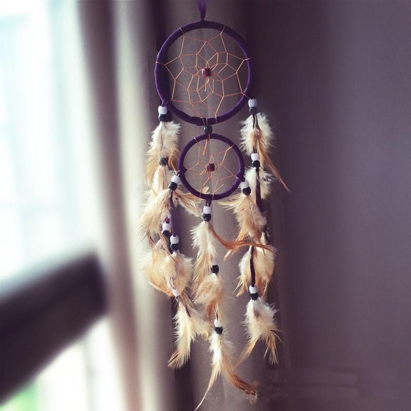 Attrape rêves Artisanal décoratifs plumes décoration intérieur capteur de rêves indien culture amérindiennes idées déco Dreamcatcher Violet