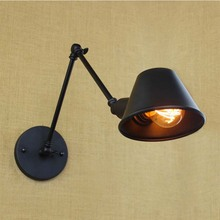 Retro Industrial Wall light Adjustable Long Arm Vintage Iron Wall Lamp Antique Black Wall Lamp With 40W Edison Bulb for Bedroom(China)