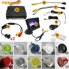 "Car 4.3"" Windshield Monitor+10-Color 6-Sensor Parking Sensor+ 2x 18.5mm Camera Dual Video Rearview Parking System #1989"