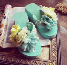 Free shipping Wholesale Woman EVA Open Toe Backless Flip Flops Shoes Slippers Beach flower Wedding shoes