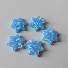 20pcs/lot  OP06 Light Blue 10mm  Synthetic  Drilled blue  David Star Opal  Fire Stone  Price David Star Opal for Necklace