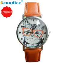 Splendid brand Cat Pattern Leather Band Analog Quartz Vogue Wrist Watch Womens