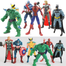 2016 6X Marvel The Avengers Hulk+Captain+Wolverine+Batman+Spiderman Figure Collection Kids Action Figure Toys Robot