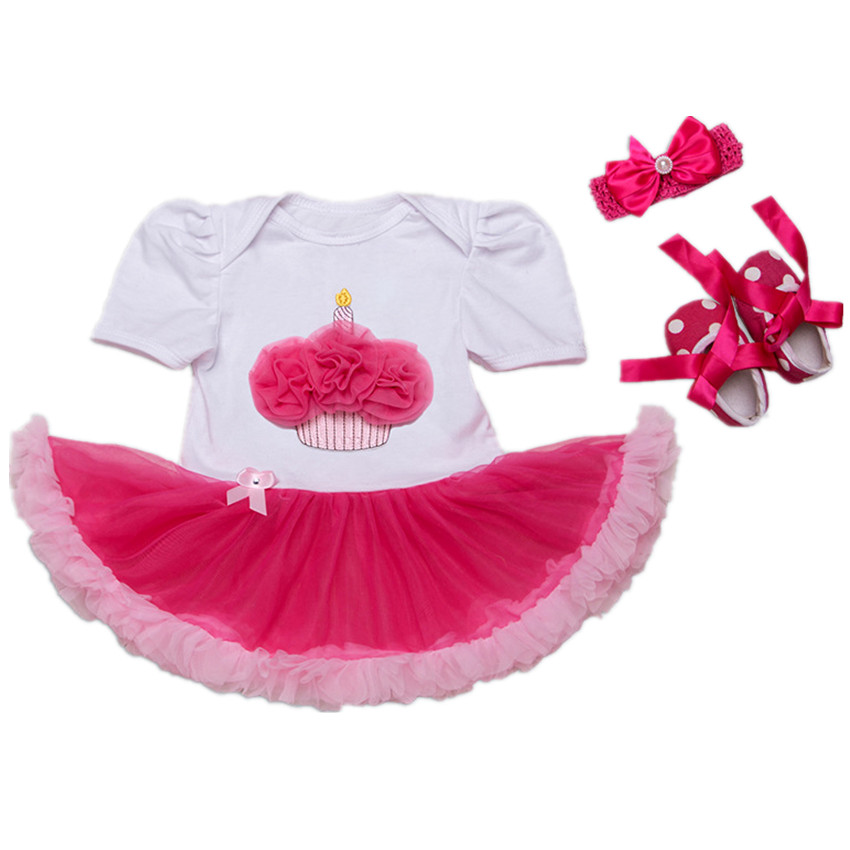 birthday dress romper pink baby girls cotton short sleeve tutu baby shower party baby girl clothes new