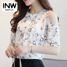 Summer Style 2017 Floral Shirt For Womens Elegant Open Shoulder Blouses Chiffon Print Blusas Women Ete Plus Size Female Tops(China)