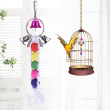 2017 Wood + Cotton Rope Bird Chew Toys Colorful Parrot Climb and Interact Toy Beads with Hook Delivery With Random Colors(China)