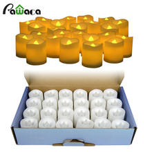 24pcs/lot Battery Operated Flickering Light Flameless LED Tealight Tea Candles Holiday Party Wedding Home Decorative Light(China)