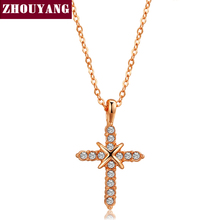 Cross Necklace Rose Gold Color Pendant Necklace Jewelry For Women Men Party  Gift Wholesale ZYN452