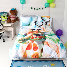 Lovely Cartoon Animal Pattern Children Duvet Cover Sheet Set 100% Cotton Reactive Dyeing Giraffe Pattern Bedding Set(China)