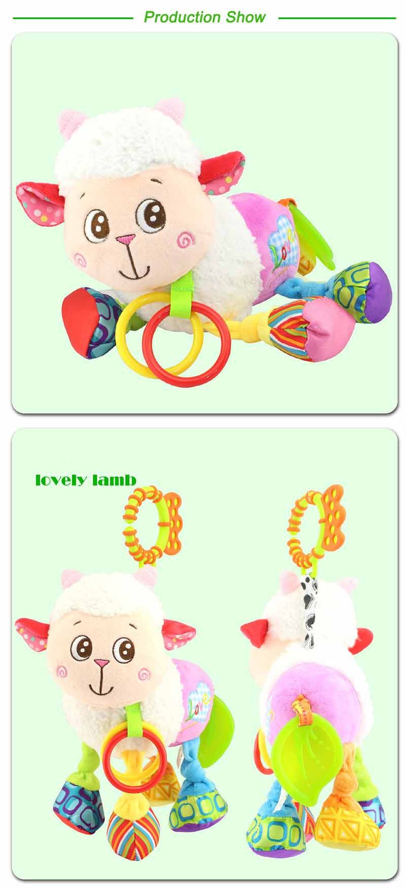 35*22CM Musical Cute Rattles Bed Crib Stroller Kids Stuffed Doll Vibrator Dog Hand Bell Shake RingToy With Teether D012 17