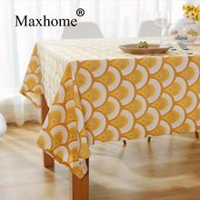 Japanese Ukiyoe Cotton Linen Tablecloths Yellow Tea Table Cloth Home Decor Wedding Gift Multi Size Customized