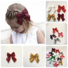 2017 NEW Fabric Bow Knot clips solid fabric bow with fabric cover hairclips headwear hair accessories 5pcs/lot(China)
