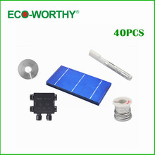 40pcs Polycrystalline 3x6 Solar Cells Cutting Grade Cell with Junction Box Flux Pen for DIY 80W Solar Panels Power Supply(China)