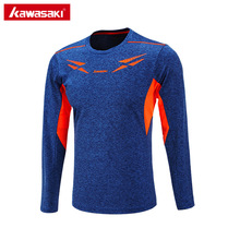 Kawasaki Mens Tennis Shirts Polyester Long Sleeve T Shirt Quick Dry Breathable Table Tennis T-Shirt Brand Sportswear LT-17183