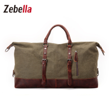 Zebella Canvas Leather Military Duffle Bag Men's Travel Bags Carry on Luggage Big Duffle Bag Traveling Tote Men WeekendBag