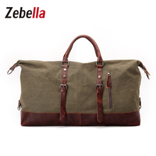 Zebella Canvas Leather Military Duffle Bag Men's Travel Bags Carry on Luggage Big Duffle Bag Traveling Tote Men WeekendBag(China)